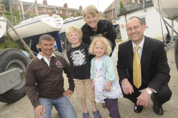 Dorset Echo: Phil Samways, left, at the launch of free sailing lessons