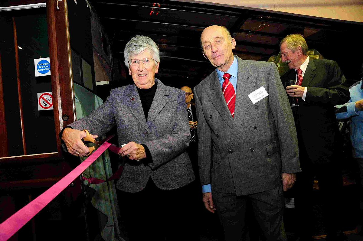 GRAND OPENING: Coun Margaret Leicester cuts the ribbon at the museum