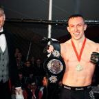 Dorset Echo: Richard Buskin after winning the lightweight UFW champion belt