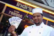 GIFT: Abul Miah of Indi's with £100 donation