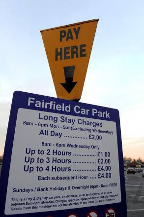 The price of an all-day ticket at Fairfield car park