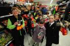 GOODS: Pupils with Asda's Sandy West