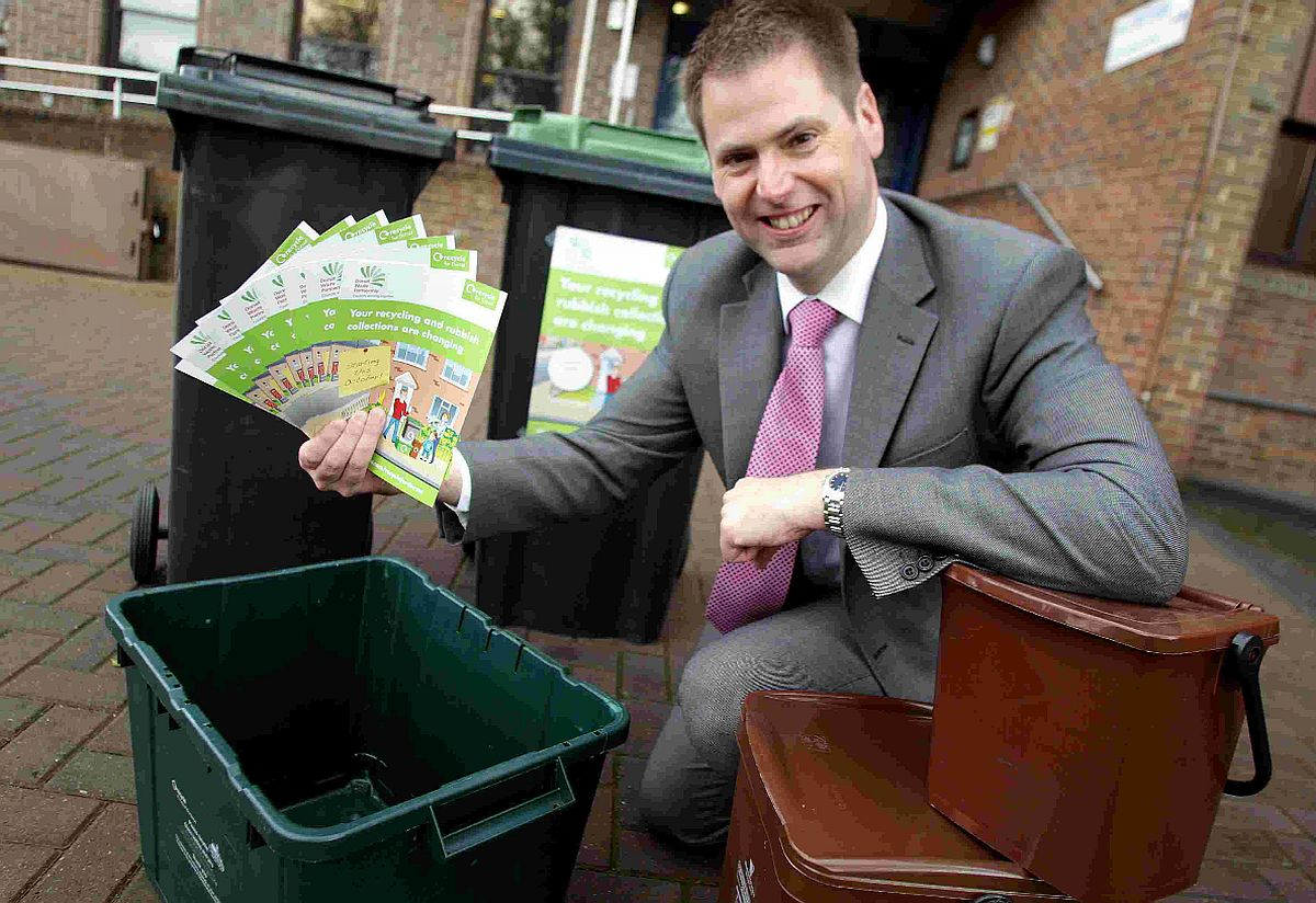 TRASH  TALK: Steve Burdis, director for the Dorset Waste Partnership, promoting the new waste service