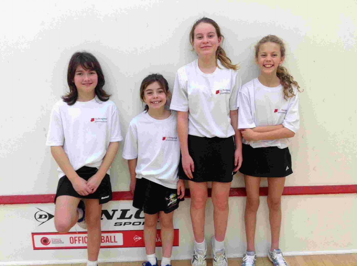 RUNNERS-UP: The under-13 girls won two of three matches. Left to right, Maia Pannell, Amy Campbell-Wynter, Katie Martin-Davies, Lucy Hill