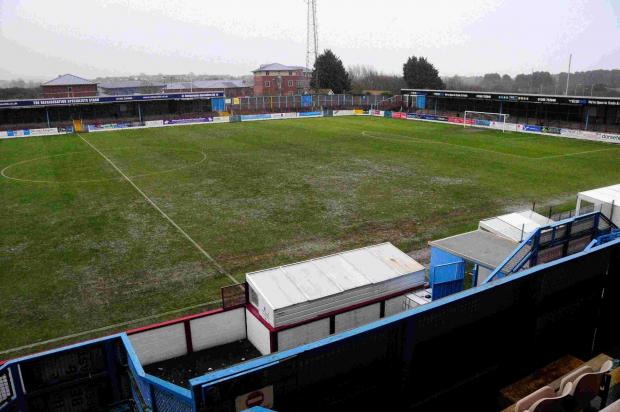 WATERLOGGED: The Bob Lucas Stadium on Saturday morning