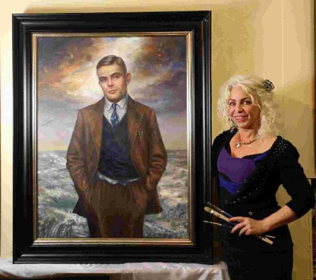 PARDONED: Maxime Xavier with her painting of Alan Turing