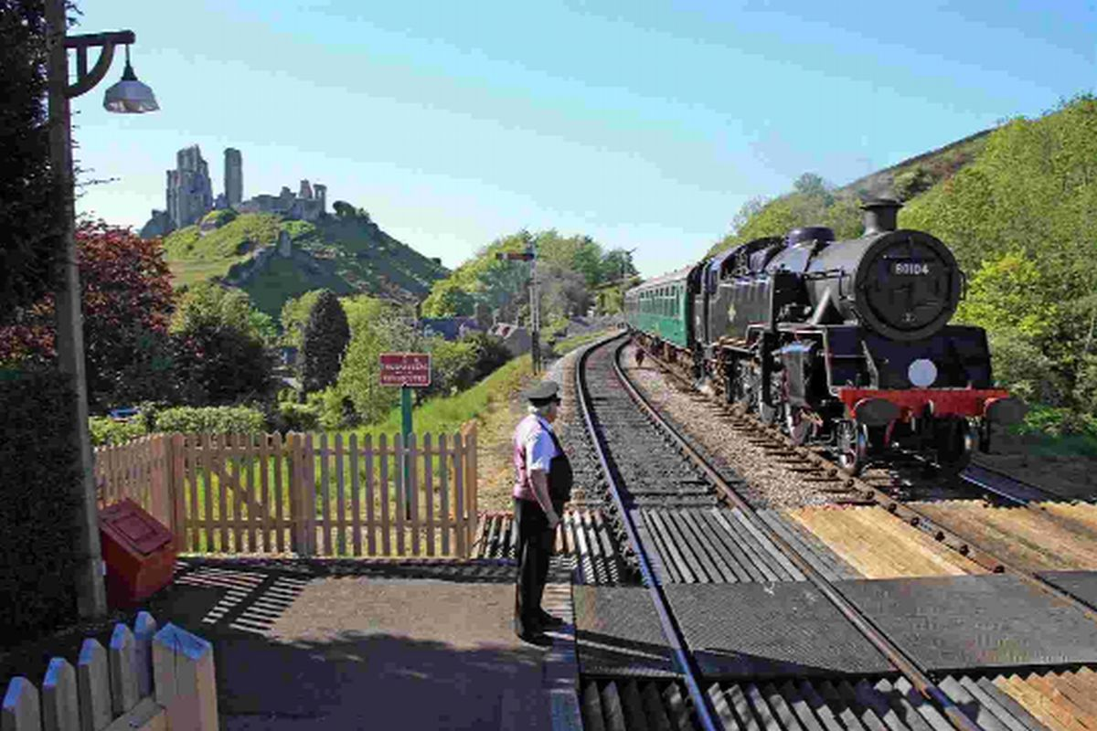 ON THE RIGHT TRACK: Corfe Castle porter Keith Mayhew