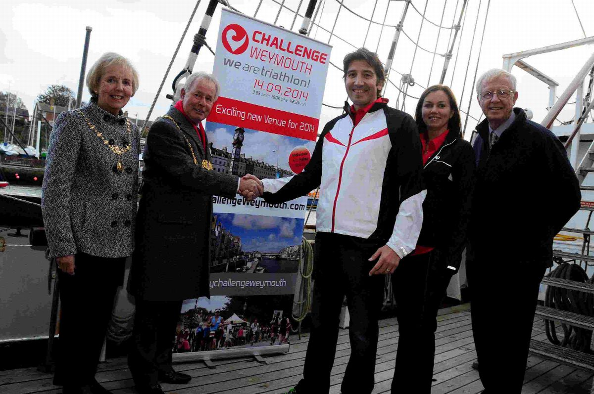 ON YOUR BIKES: Pam Nixon, Mayor Ray Banham, Alan Rose, Lucy Rose and Cllr Ian Bruce at the launch on board the TS Pelican