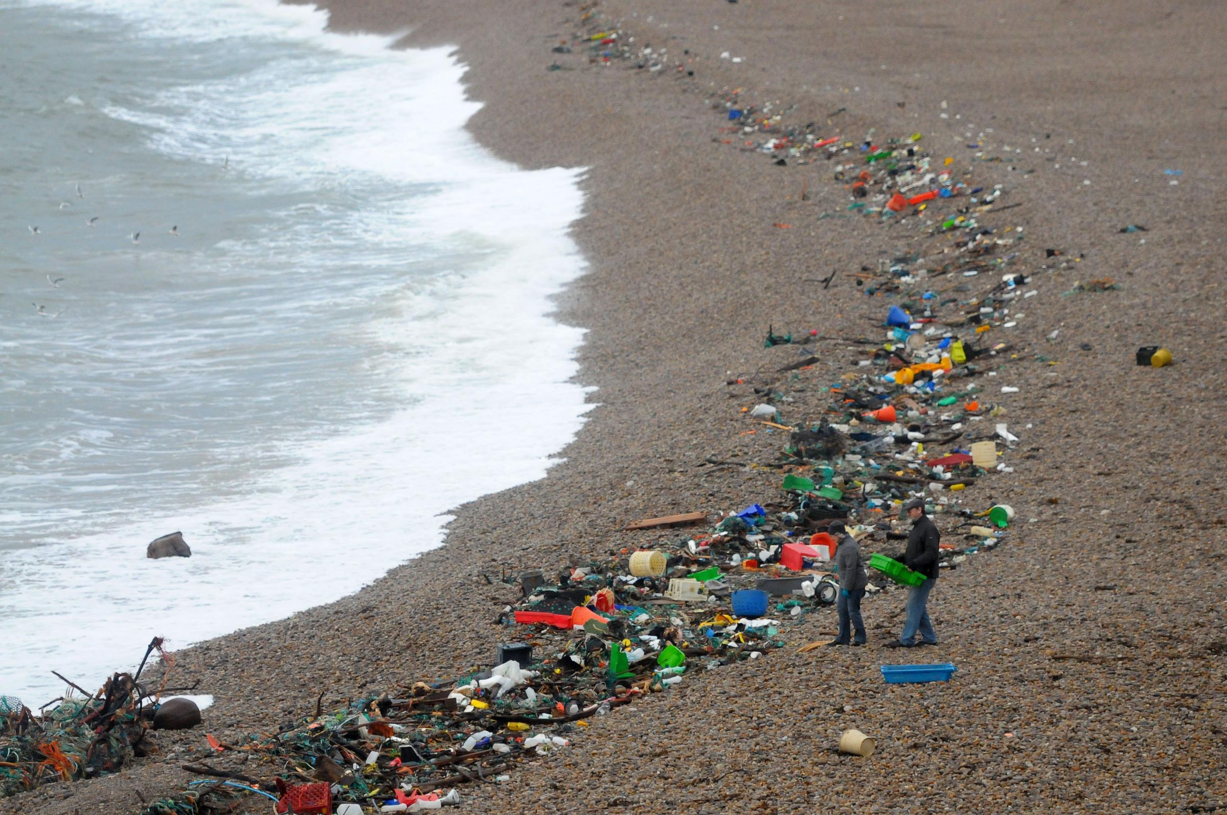 Tonnes of rubbish washed up on Chesil Beach