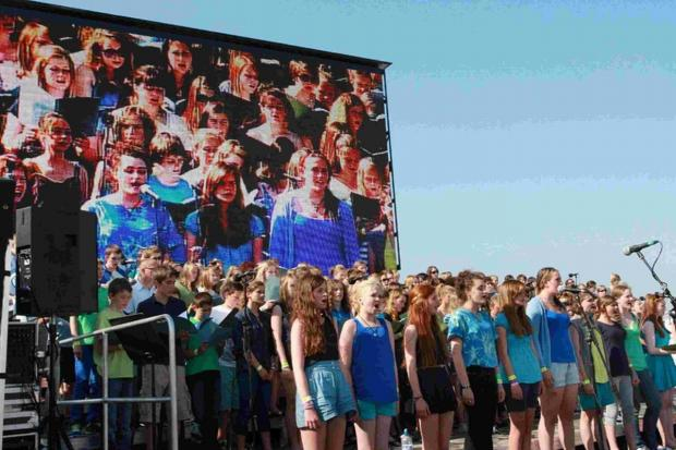 B Sharp youngsters performing at  the Weymouth Olympic opening ceremony