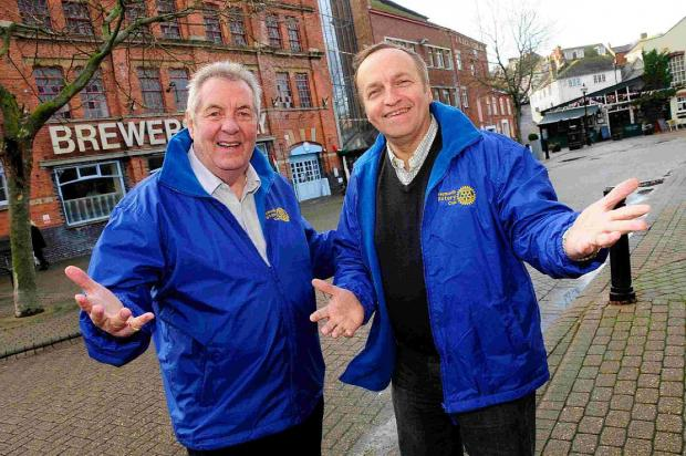 Dorset Echo: YOU CAN BANK ON IT: Weymouth Rotary Club's Dennis Corbett and Dave Langridge who are organising a music event in Hope Square