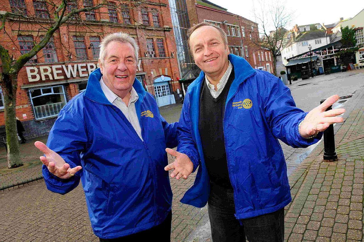 YOU CAN BANK ON IT: Weymouth Rotary Club's Dennis Corbett and Dave Langridge who are organising a music event in Hope Square