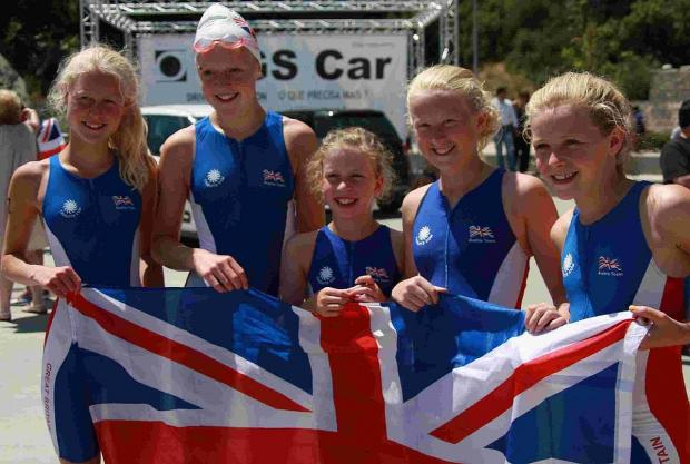 FAMOUS FIVE: Portia Manson, Olivia Manson, Anya Evans, Poppy Boyden and Elektra Covell at the European Biathle Championships in Portugal