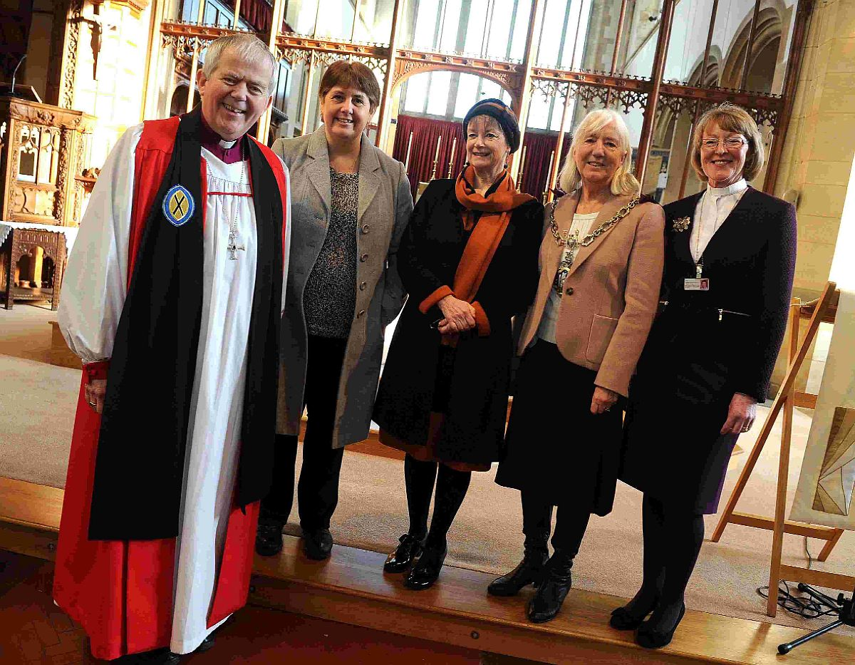 THIRTY YEARS OF CARING: Bishop of Salisbury Nicholas Holtam, ward sister Julie Nash, director of nursing and patient services Ruth Burnhill, Mayor Stella Jones and chaplain Sally Bedborough at the service
