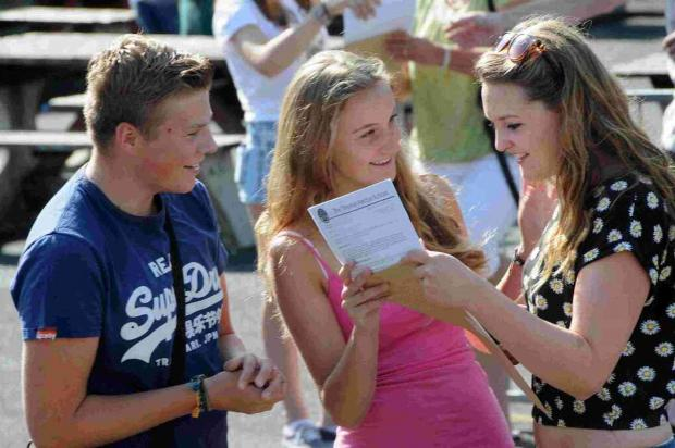 Dorset Echo: BRIGHT FUTURES: Successful Year 11 students receive their GCSE results at Thomas Hardye School