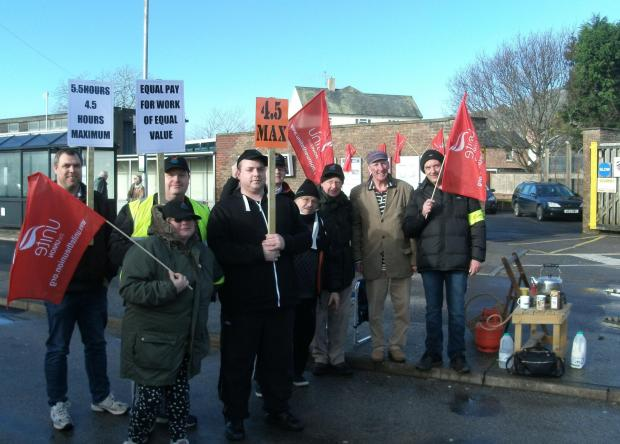 The picket line at Bridport bus station on Monday