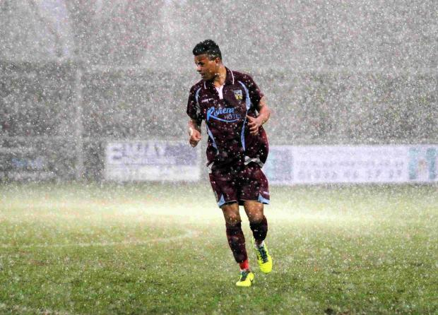 Dorset Echo: HIT BY A MONSOON: Jake Green at Hardenhuish Park
