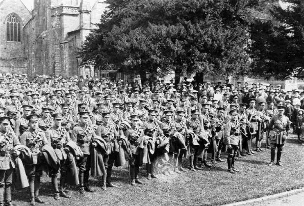 Queen's own Dorset Regiment outside Sherborne Abbey