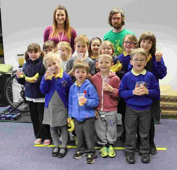 SMOOTH OPERATORS: Teacher Amber Rickard and Jonathan Dixon from Sustrans with the pupils