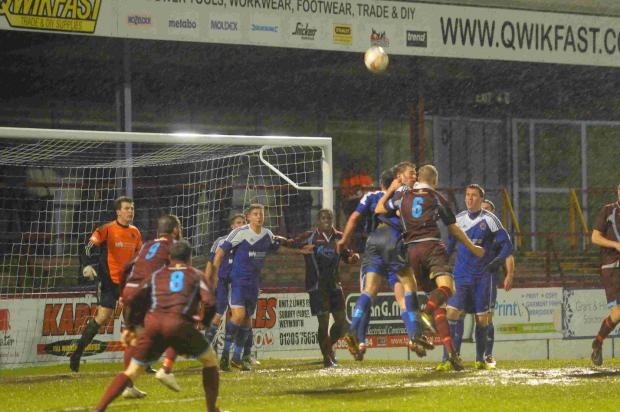 HEAD STRONG: Sam Poole puts the Bideford defence under pressure
