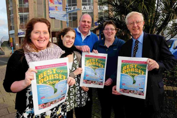 LAUNCH PARTY: From left, Charlie Sheppard, Michaela Weisharr, Phil Say, Lou Say and Coun Ian Bruce with the Best of Dorset Show poster