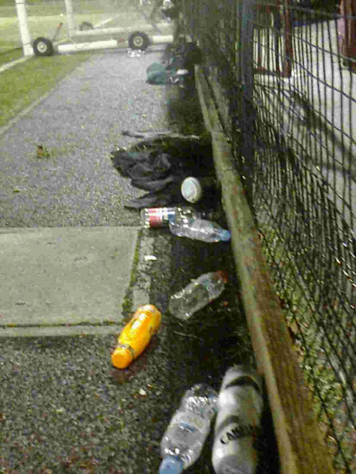 KEEP IT CLEAN: Rubbish left at the Dorchester Sports Centre 3G pitches.
