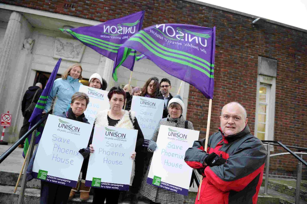 HITTING BACK: Unison members protesting over proposal to close Phoenix House Care Home