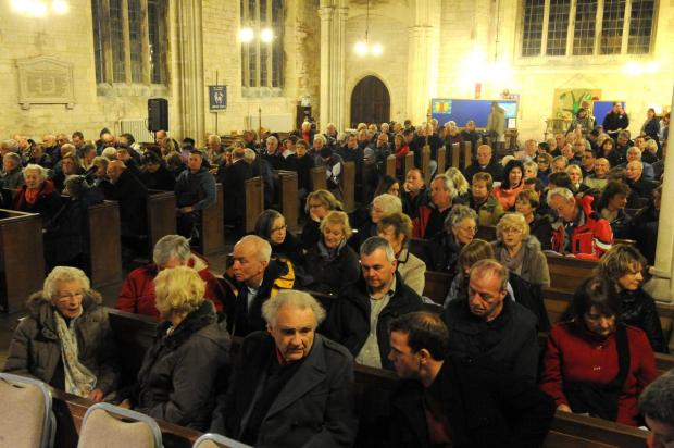 PACKED: The audience for the council meeting at All Saints Church.  Picture: FINNBARR WEBSTER