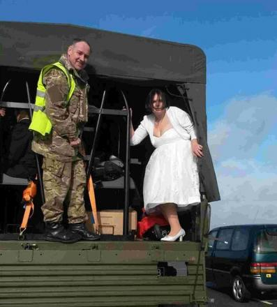Kayleigh in the Army lorry