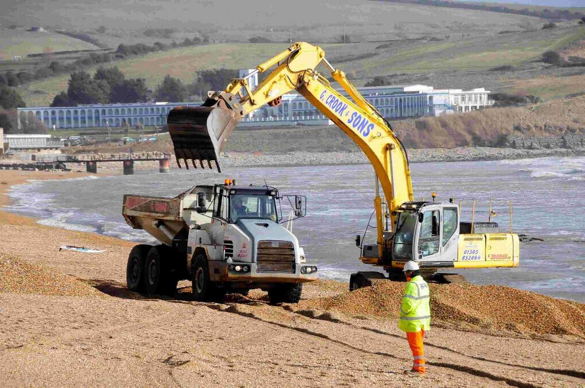 Heavy machinery at work on Preston Beach at Overcombe Corner