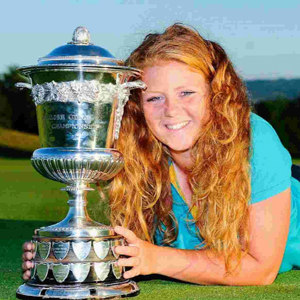 SOPHIE'S PRIZE: Sophie Keech with the England girls' trophy