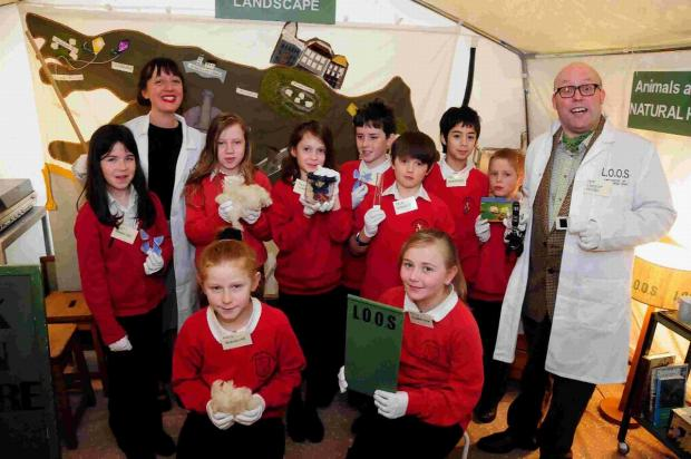 EXPERIMENTAL: Prof Stella Barrows and Prof Lancelot Hogben with Burton Bradstock Primary School Class Four in the Mad Professor's Magic Lab