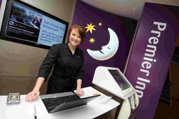 CHECKING IN: Jessica Hoddinott on the reception desk at Premier Inn, Brewery Square, Do