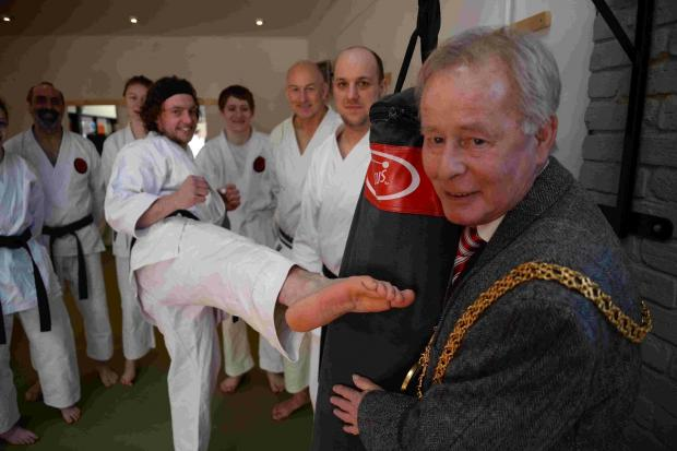 Opening of Wessex Karate Academy by Weymouth Mayor Ray Banham (right) with Scott Robyns (left)