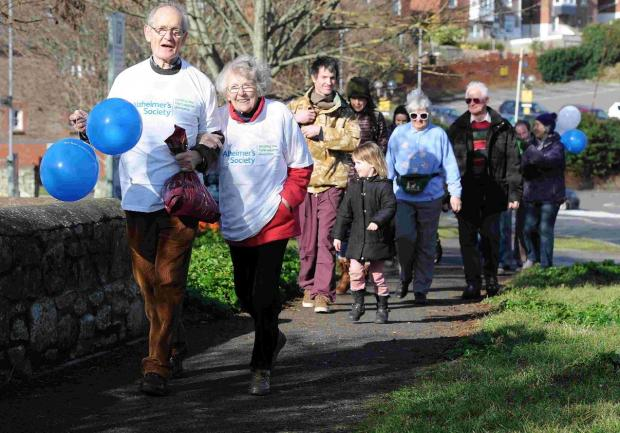 ON THE MARCH: Ruth Moon setting off with family and friends for the sponsored walk