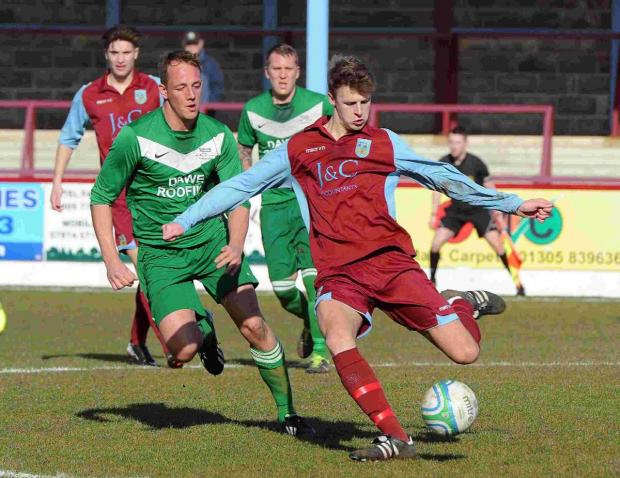 Dorset Echo: OFF TARGET: Conor Jevon missed one of the Terras' chances