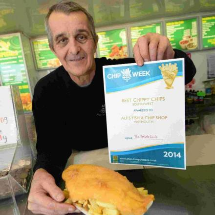 Alf's Fish and Chips owner John Pearce with his latest award