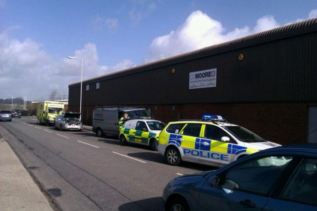 Car and van collision on Weymouth industrial estate