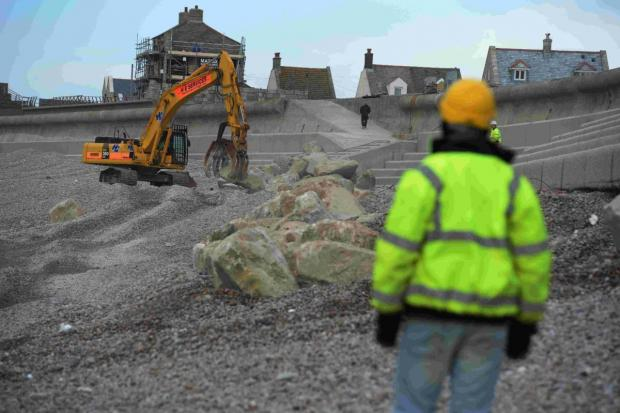 Dorset Echo: ROCK WORK: Repairs on Chesil Beach