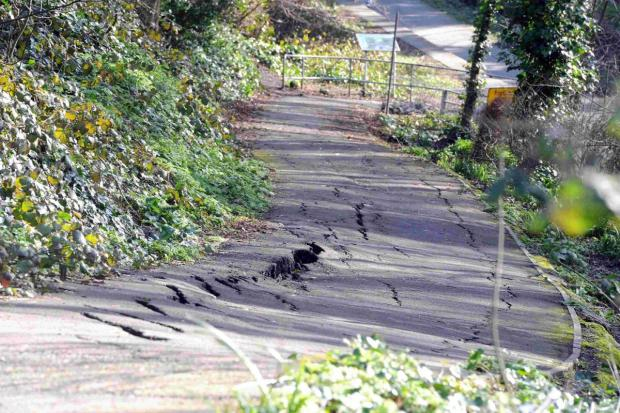 CLOSED:  Landslip on the footpath by Wyke Road. Inset, David Carter, Chairman of Friends of Rodwell Trail