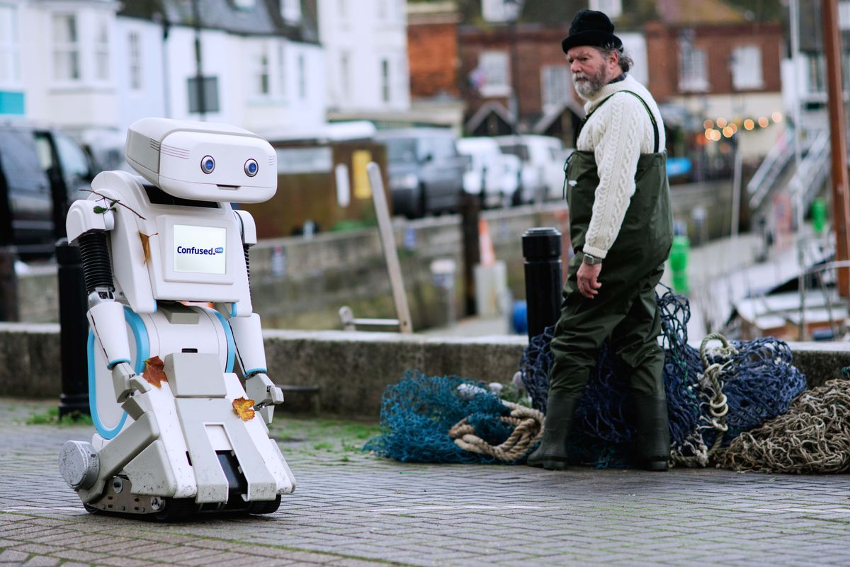 ADVERT: Brian the robot in Weymouth
