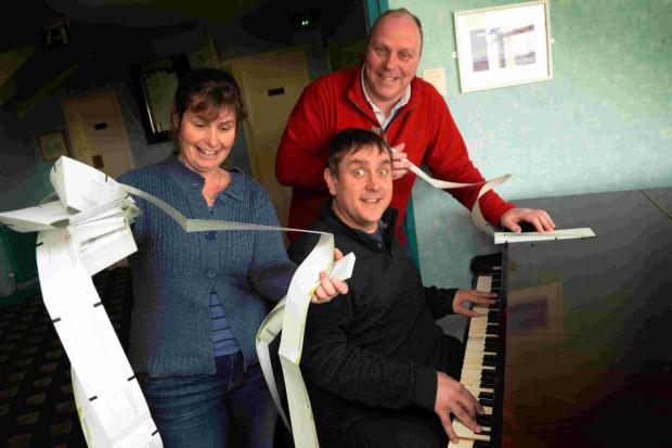 PIANO MAN: Musician Ben Waters with his wife Ruth and Phil Say at Weymouth Pavilion
