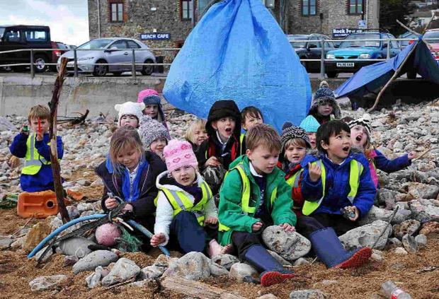 SHORE THING: Charmouth School Year 1 pupils on the beach