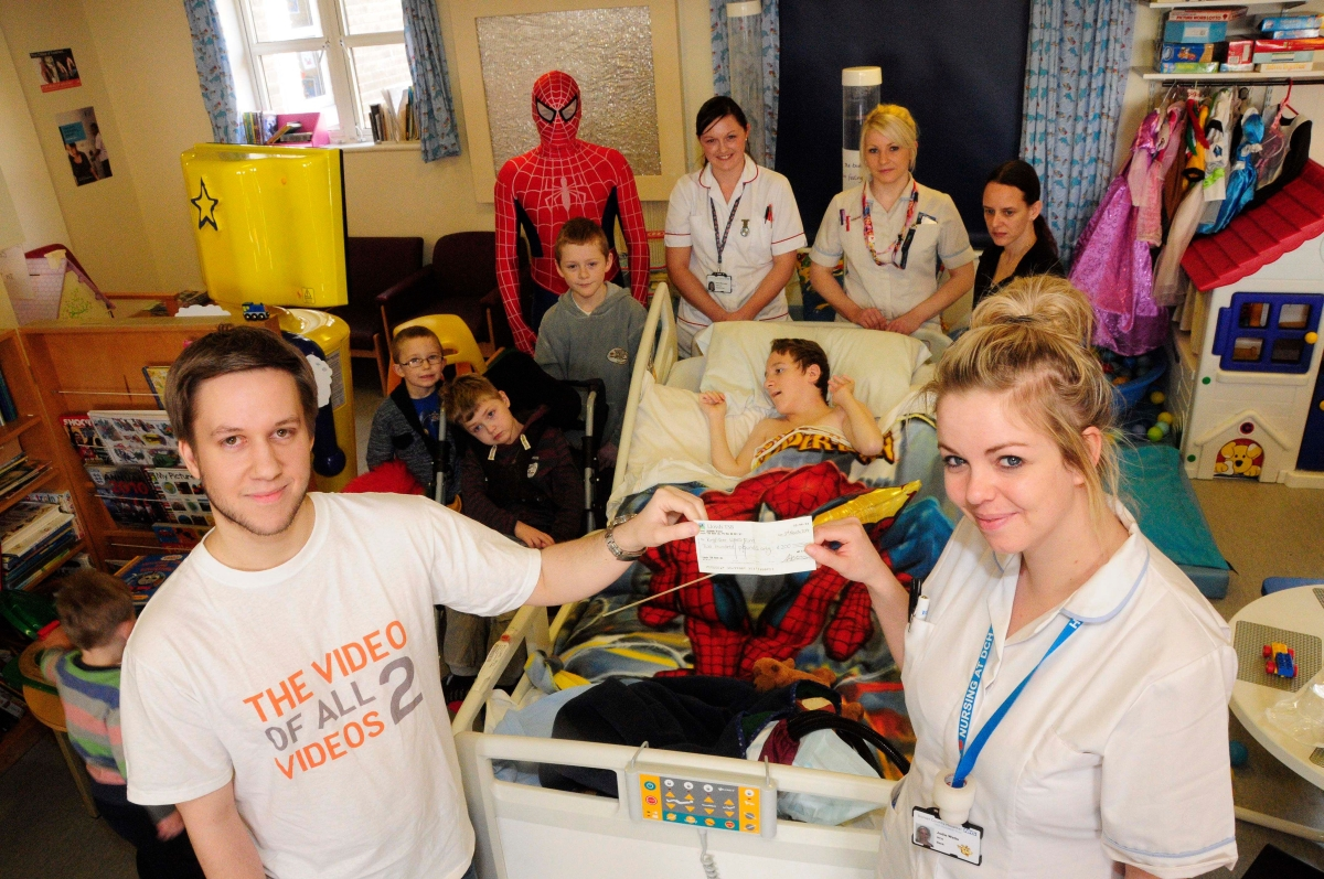 Spiderman visits youngsters at Dorset County Hospital