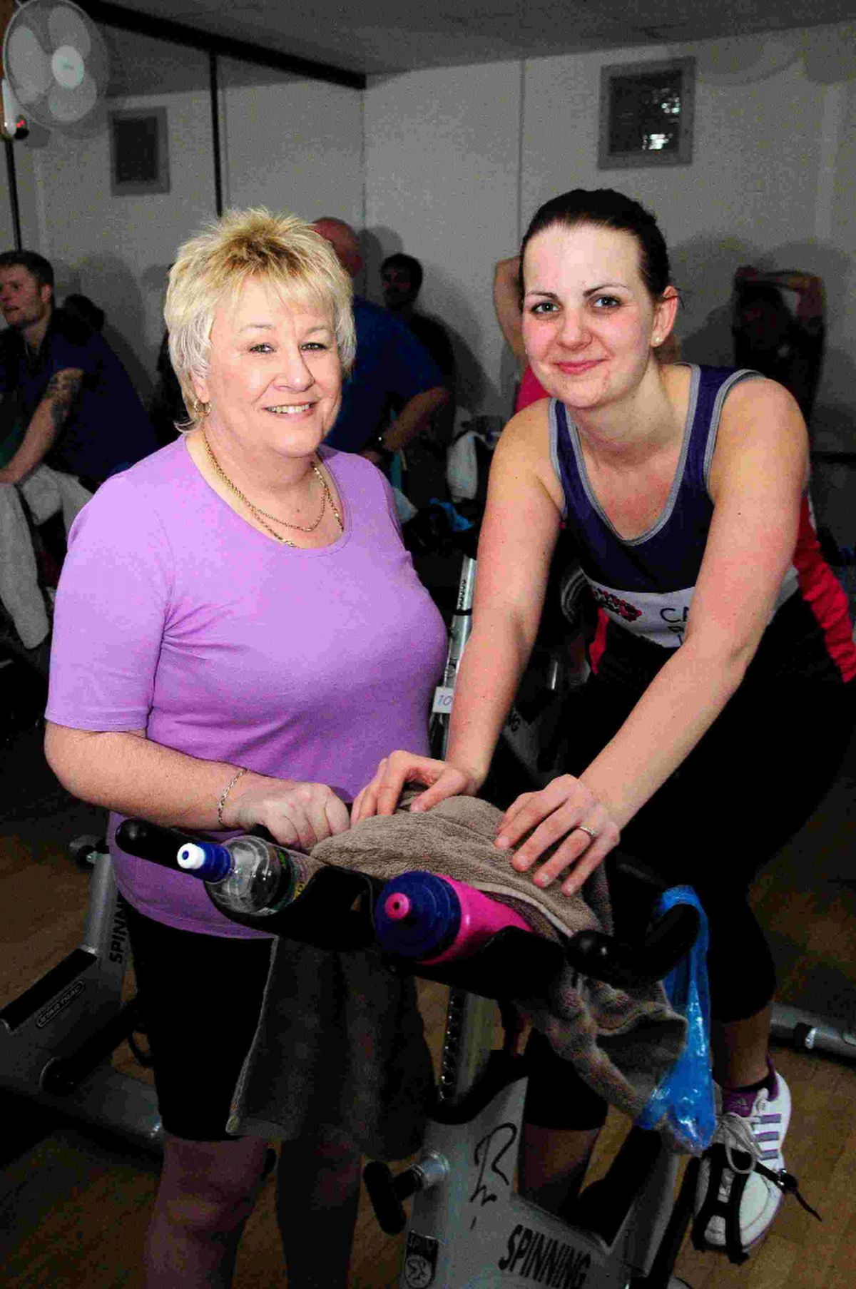 PUTTING IN THE LEGWORK: Zoey Fry with mother-in-law Mandy Fry at the eight-hour spinathon at Redlands