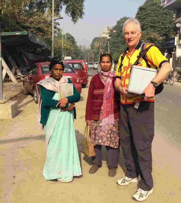 Dorset Echo: lifesaver: Clive Bath helps with the polio immunisation programme in India