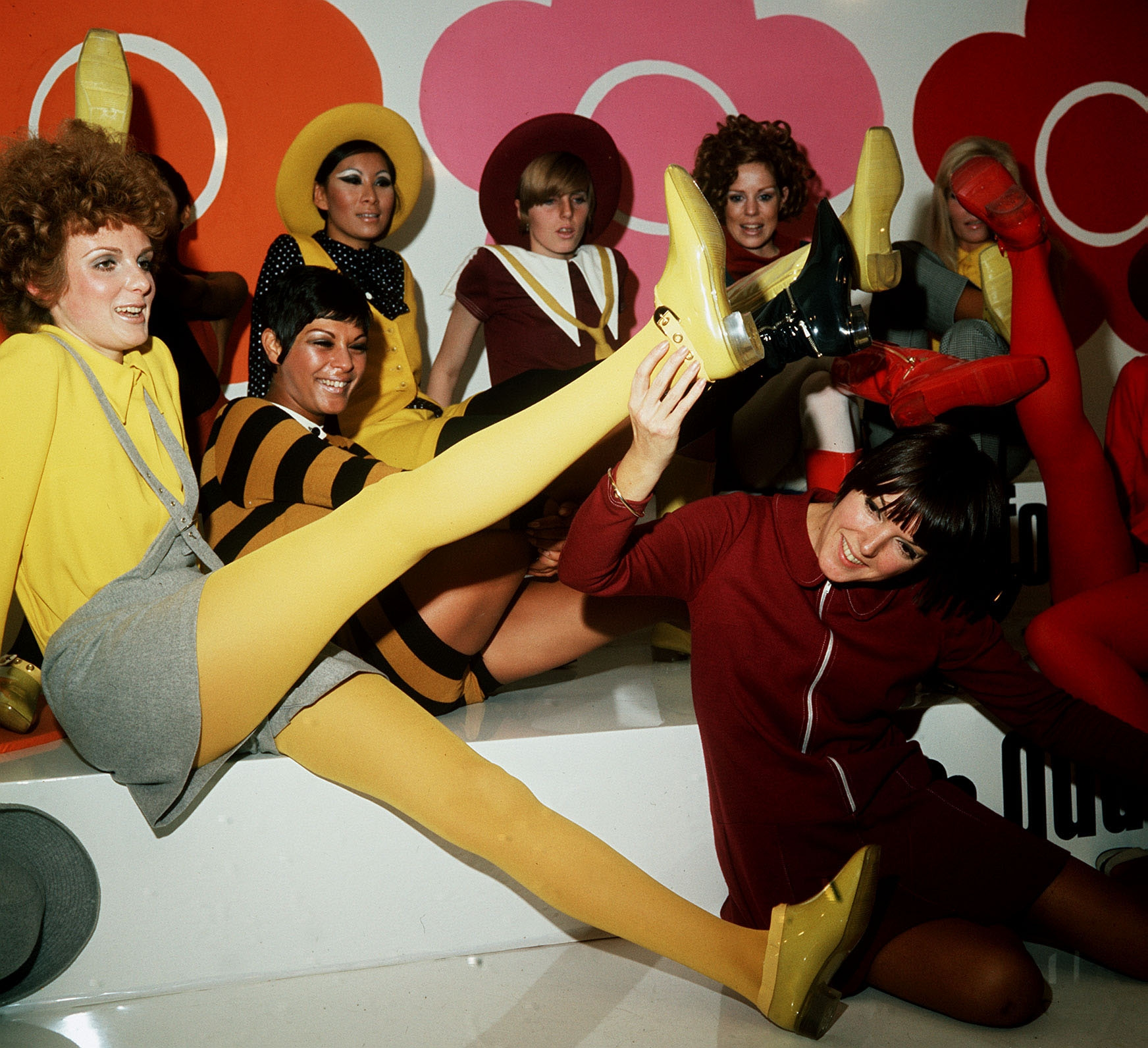 Mary Quant, foreground, with models wearing her creations