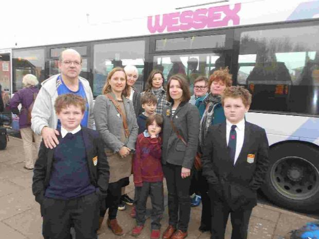 Bridport parents and children who have been hit by the rise in bus fares