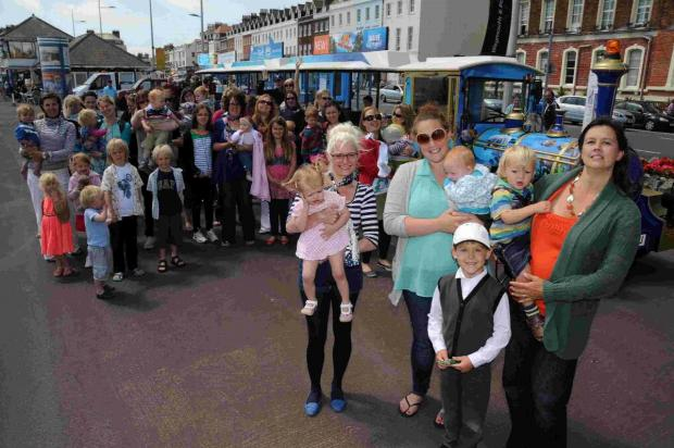 SUPPORT: Mums and children backing National Breastfeeding Awareness Week on Weymouth seafront