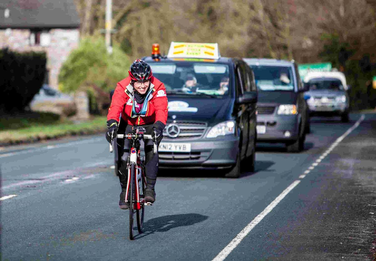 ACTION: A cyclist hits the road